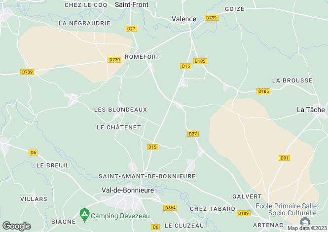 Map for Poitou-Charentes, Charente, St-Amant-de-Bonnieure