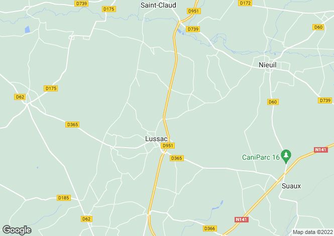 Map for lussac, Charente, France