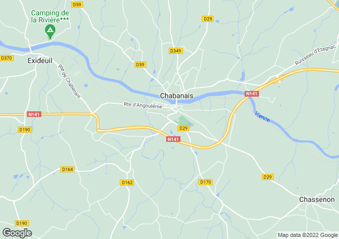 Map for chabanais, Charente, France