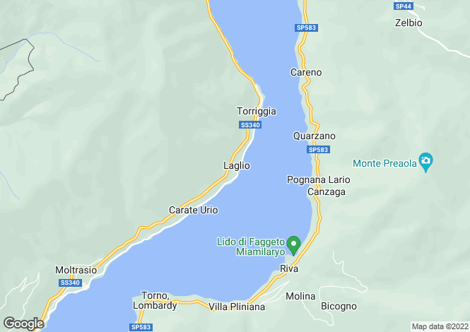 Map for Laglio, Lake Como, Lombardy, Italy