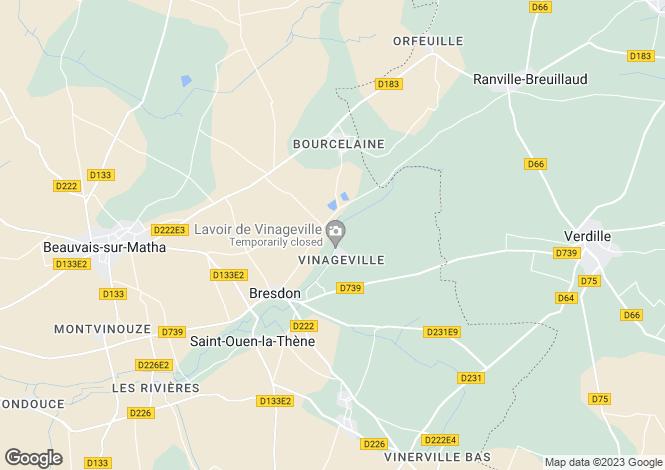 Map for Poitou-Charentes, Charente-Maritime, Bresdon