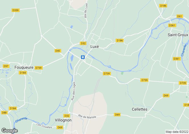 Map for luxe, Charente, France