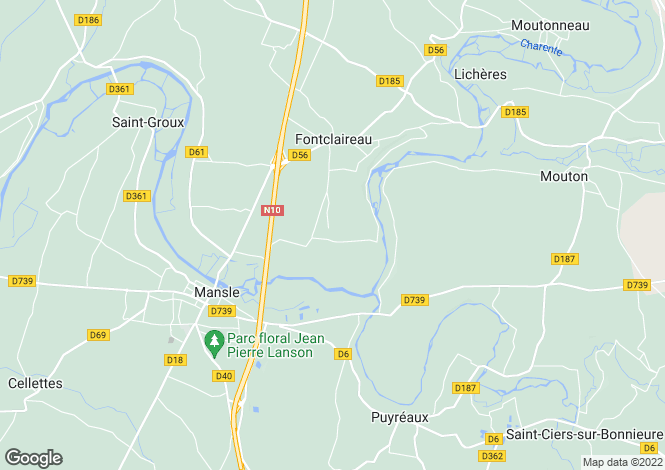 Map for fontclaireau, Charente, France