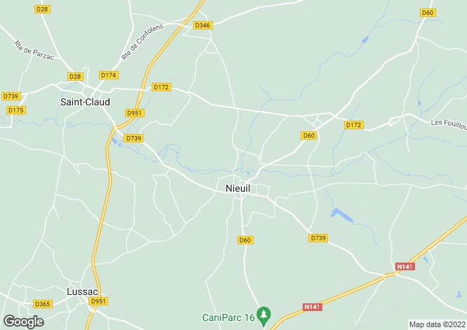Map for nieuil, Charente, France