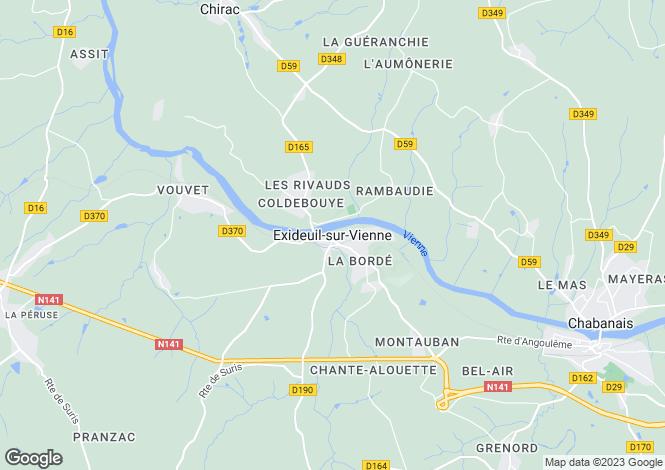 Map for Secteur: Exideuil, Charente
