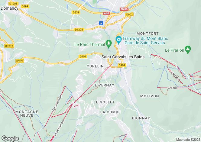 Map for Rhone Alps, Haute-Savoie, St-Gervais-les-Bains