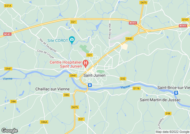 Map for st-junien, Haute-Vienne, France