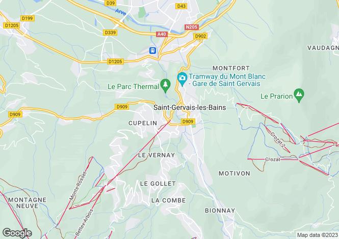 Map for St-Gervais-les-Bains, Haute-Savoie, Rhone Alps
