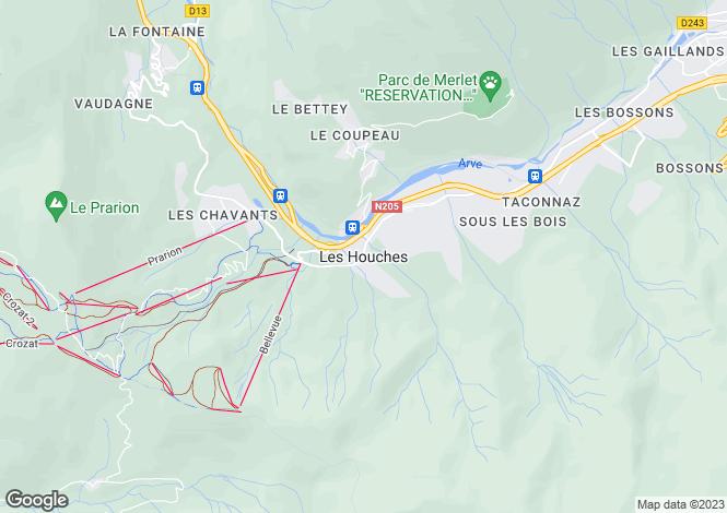 Map for Rhone Alps, Haute-Savoie, Les Houches