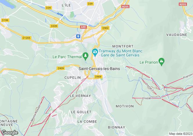 Map for Saint Gervais les Bains, Haute Savoie, France, 74170