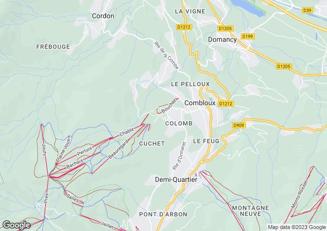 Map for Rhone Alps, Haute-Savoie, Combloux