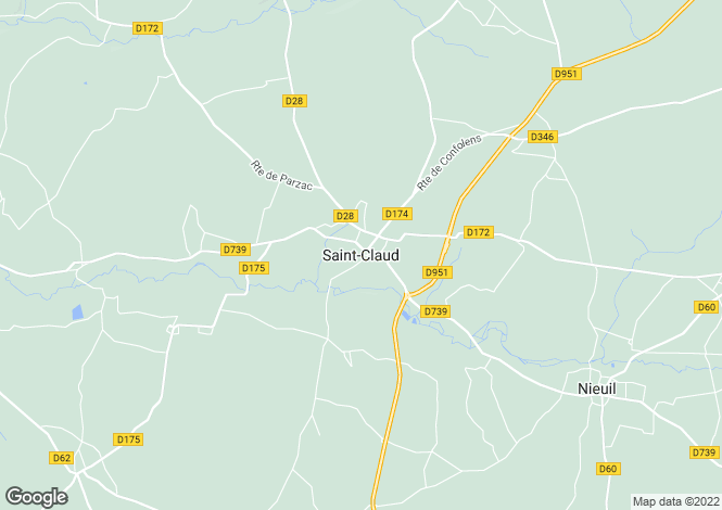 Map for Secteur: St Claud, Charente