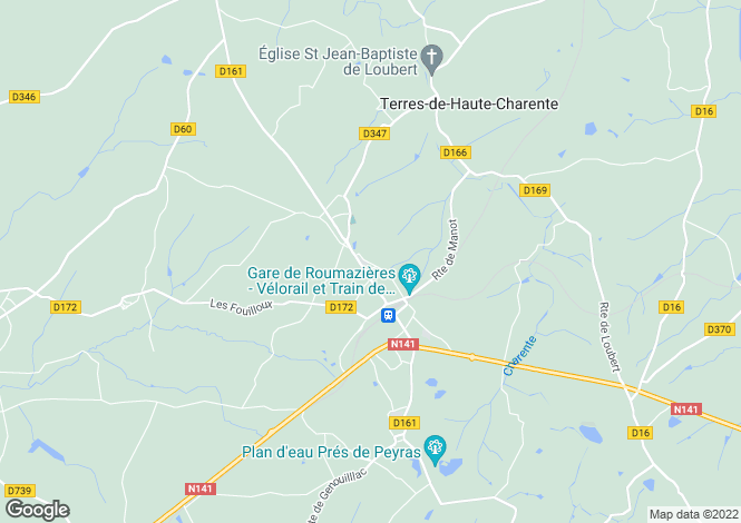 Map for roumazieres-loubert, Charente, France