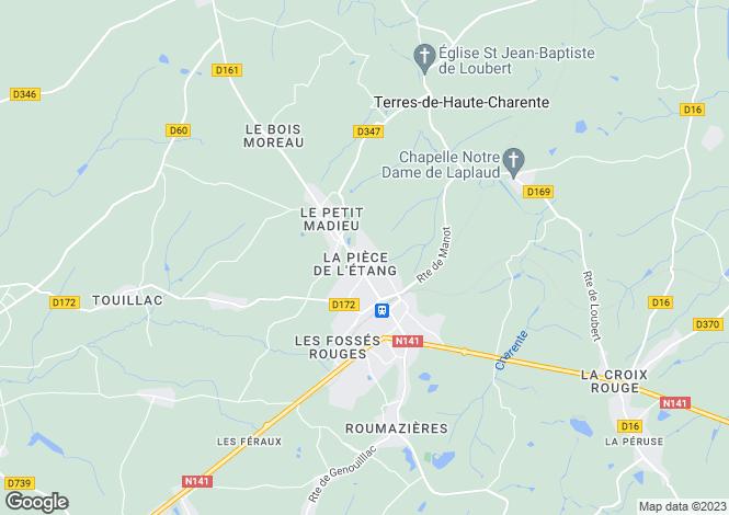 Map for Poitou-Charentes, Charente, Roumazières-Loubert