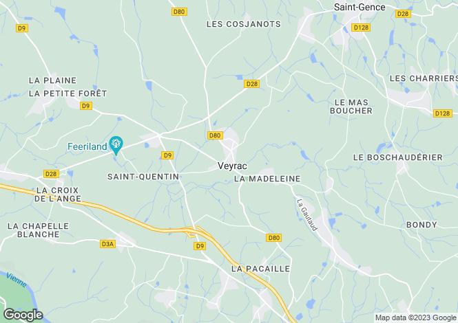 Map for Limousin, Haute-Vienne, Veyrac