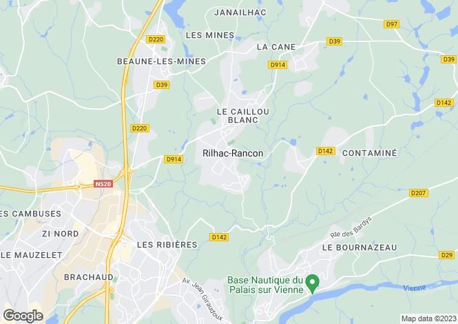 Map for rilhac-rancon, Haute-Vienne, France
