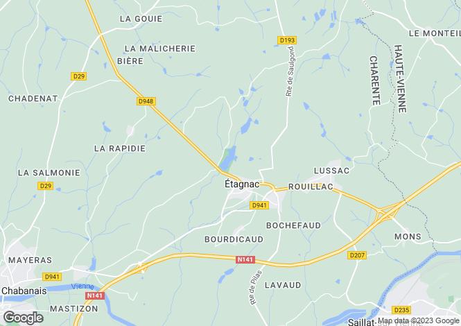 Map for Poitou-Charentes, Charente, Étagnac