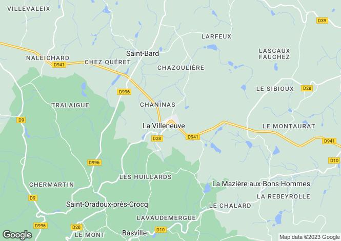 Map for la-villeneuve, Creuse, France