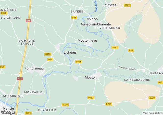 Map for Poitou-Charentes, Charente, Moutonneau