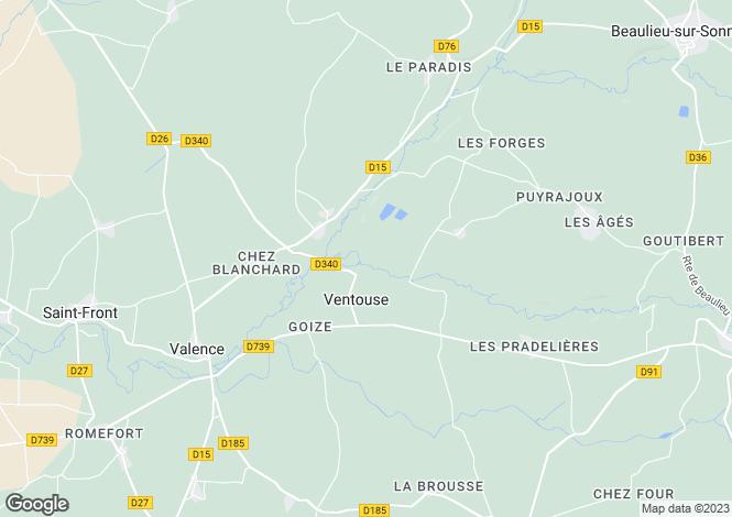 Map for Poitou-Charentes, Charente, Ventouse