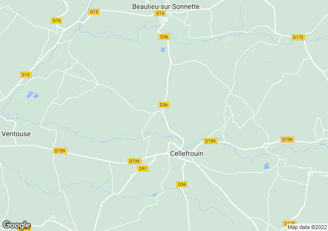 Map for cellefrouin, Charente, France
