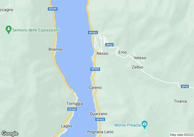 Map for Nesso, Lake Como, Lombardy