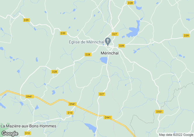 Map for merinchal, Creuse, France