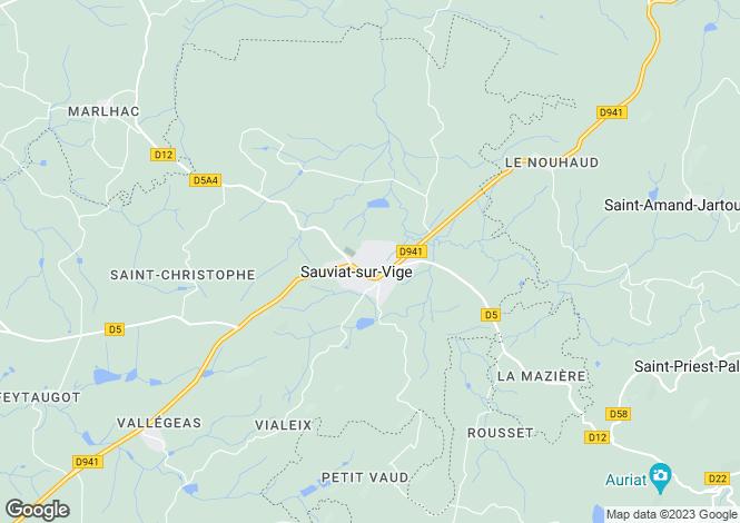 Map for Sauviat-sur-Vige, Haute-Vienne, 87400, France