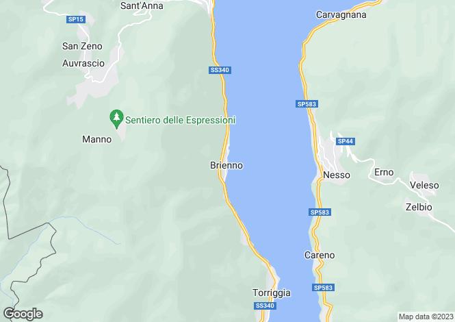 Map for Ca' Nova, Via Regina 64, Brienno, Lake Como, Lombardy