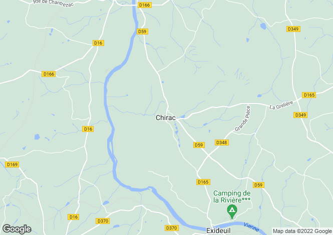 Map for chirac, Charente, France