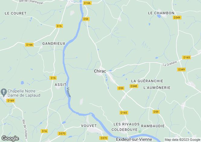Map for Poitou-Charentes, Charente, Chirac