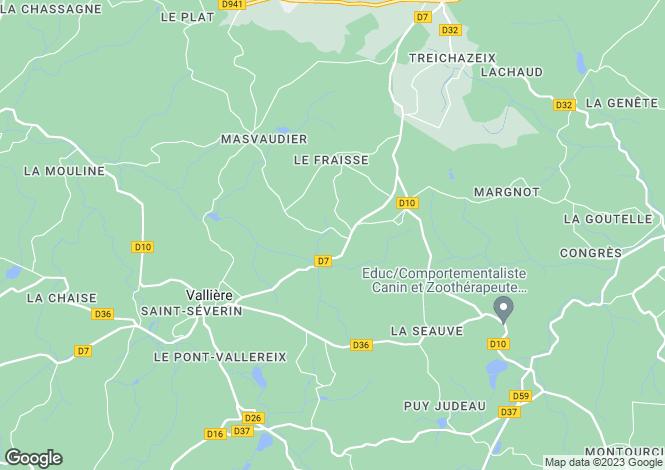 Map for Vallières, Creuse, Limousin