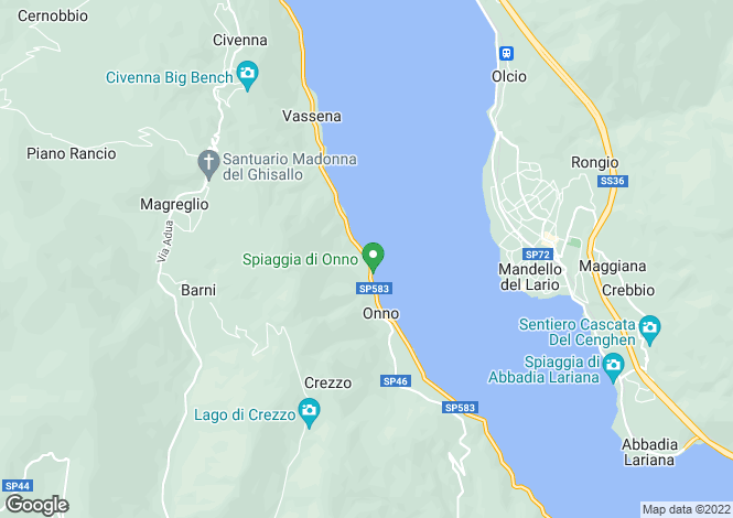 Map for Lombardy, Lecco, Oliveto Lario