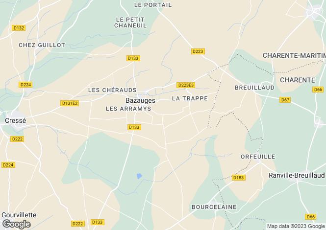 Map for bazauges, Charente-Maritime, France