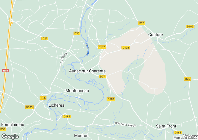 Map for aunac, Charente, France