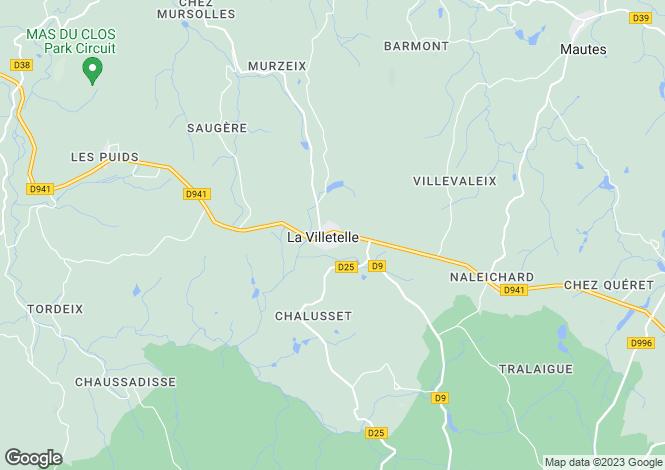 Map for Limousin, Creuse, La Villetelle