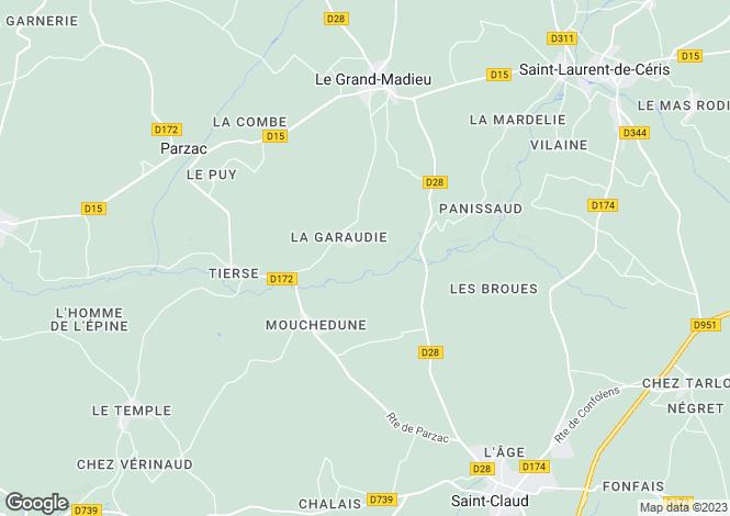 Map for Champagne-Mouton, Poitou-Charentes, 16450, France