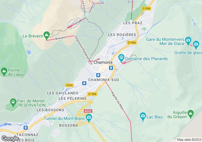 Map for Chamonix, Haute-Savoie, Rhone Alps