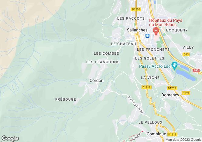 Map for Cordon, Haute Savoie, France, 74120