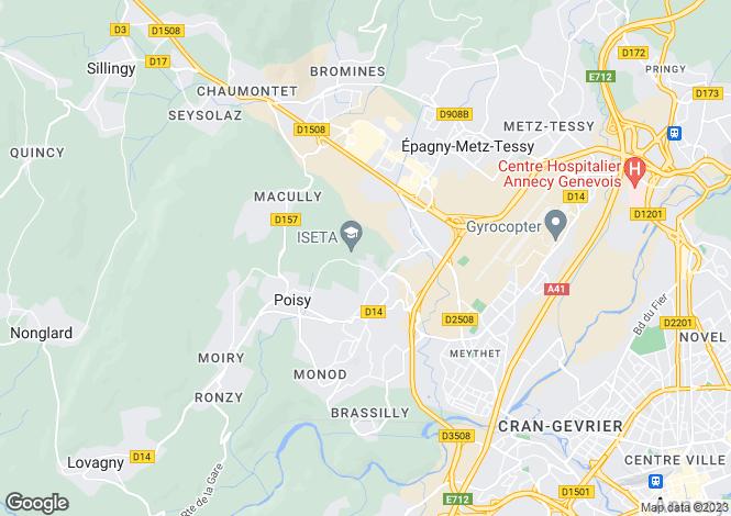 Map for Rhone Alps, Haute-Savoie, Poisy