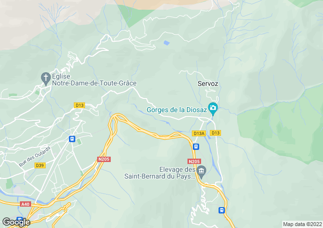 Map for Rhone Alps, Haute-Savoie, Servoz