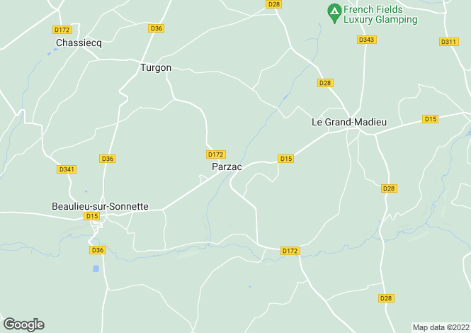 Map for parzac, Charente, France