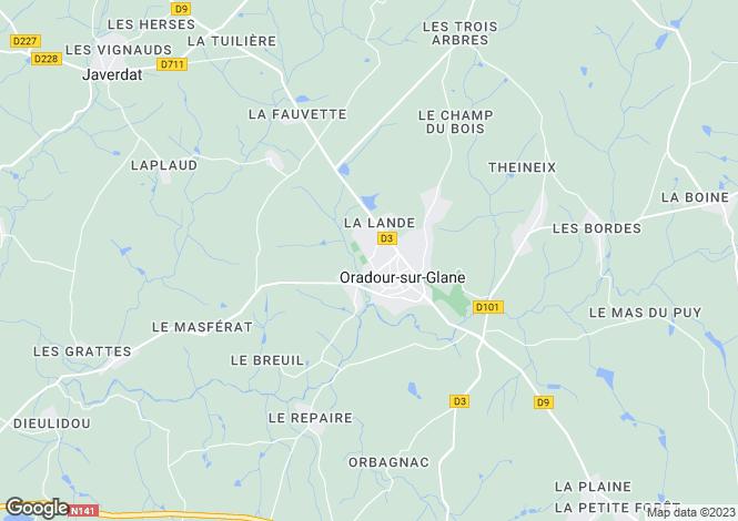 Map for Limousin, Haute-Vienne, Oradour-sur-Glane