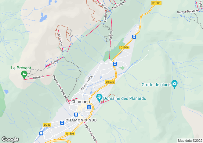 Map for Chamonix, French Alps