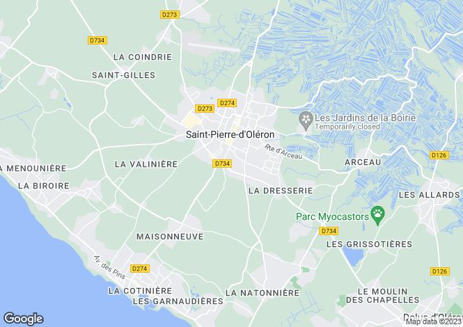 Map for Poitou-Charentes, Charente-Maritime, St-Pierre-d`Oléron