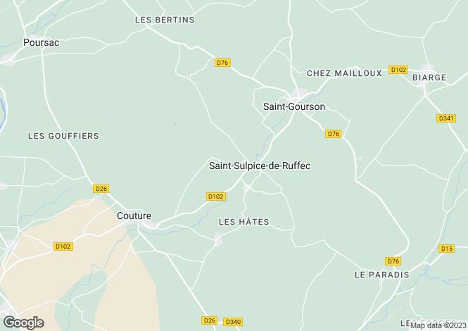 Map for Champagne-Mouton, Poitou-Charentes, 16460, France