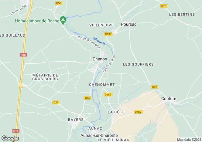 Map for Aunac, Poitou-Charentes, 16460, France