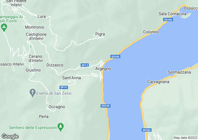 Map for Lombardy, Como, Argegno