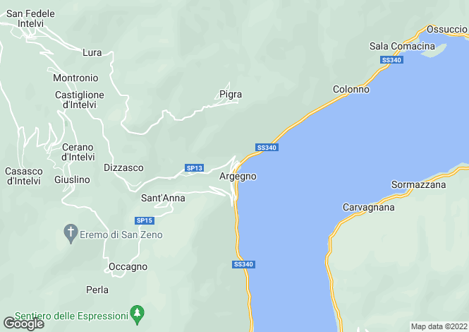 Map for Argegno, Lake Como, Lombardy