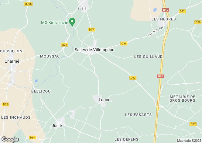 Map for Poitou-Charentes, Charente, Salles-de-Villefagnan